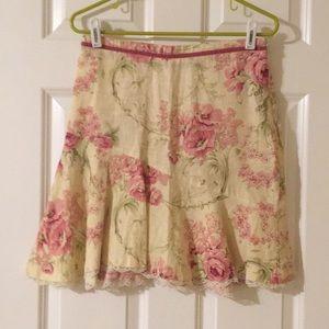 Flared linen floral skirt size 0